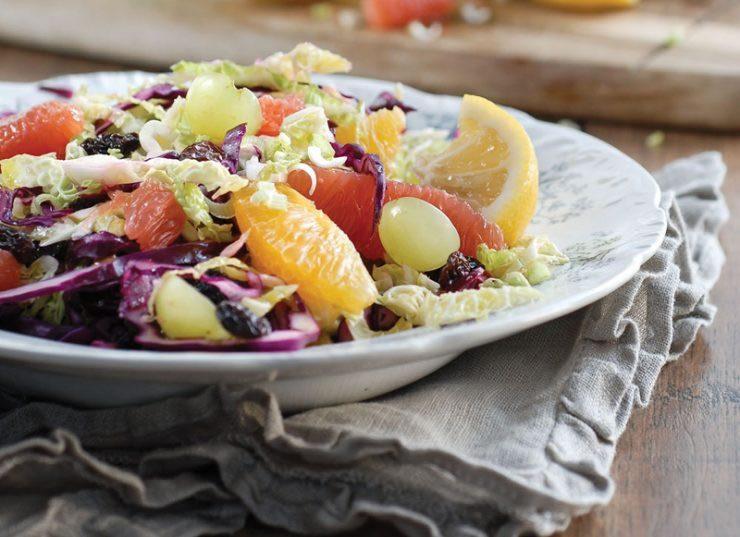 Salade aux choux, orange et pamplemousse