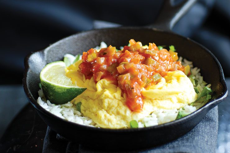 Cassolette de riz et omelette mexicaine